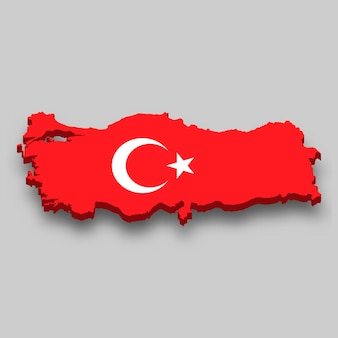 3d map of turkey with national flag.
