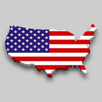 3d map of united states with national flag.