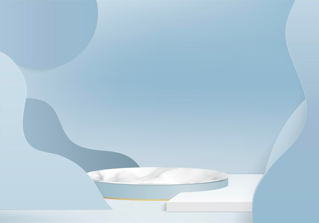 3d marble stone background products display podium scene with geometric platform. 3d rendering with podium. stand to show cosmetic products. stage showcase on pedestal display blue studio