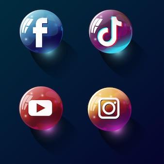 3d大理石のソーシャルメディアアイコン