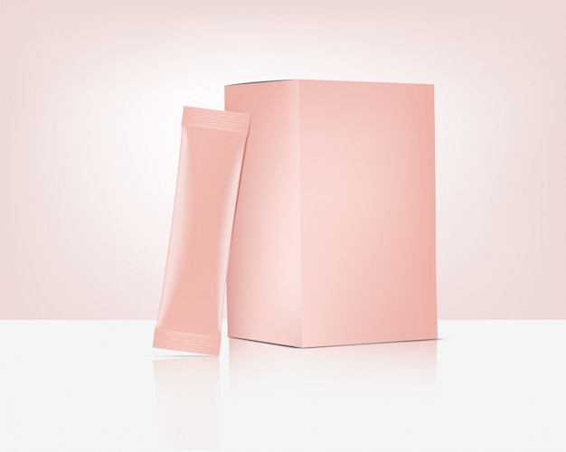 3d matte stick rose gold sachet bag with paper box isolated. food and beverage packaging concept design.