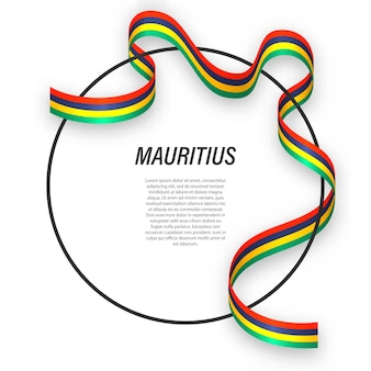 3d mauritius with national flag.