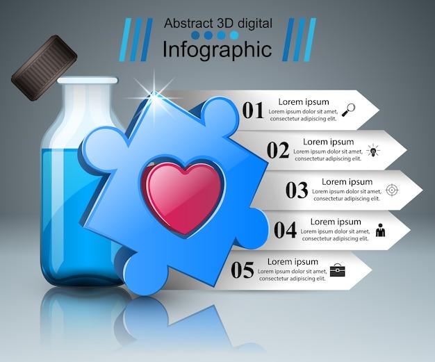 3d医療インフォグラフィック。 Premiumベクター