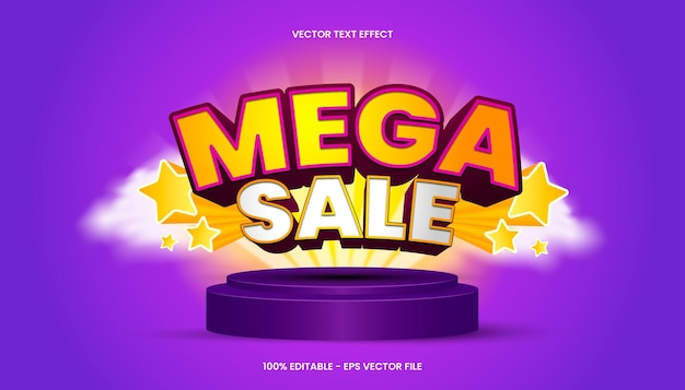 3d mega sale text effect with yellow and purple color theme.