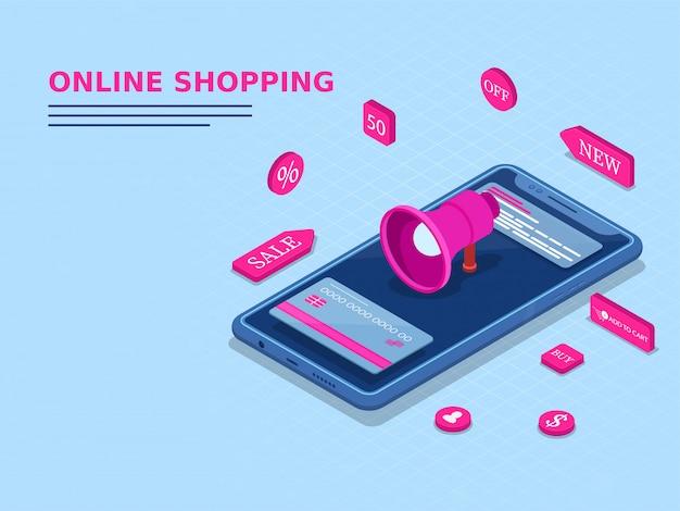 3d megaphone and customer e-shop service app.