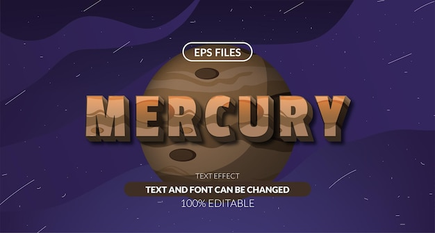 3d mercury solar system astrology editable text effect. eps vector file. planet space cosmic