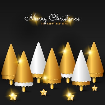 3d merry christmas banner background with spiral golden tree and star