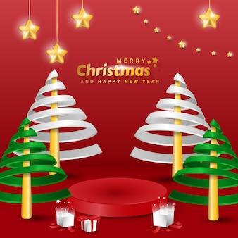 최소한의 나선형 나무, 선물 상자 및 별 요소 장식이 있는 3d 메리 크리스마스 배너