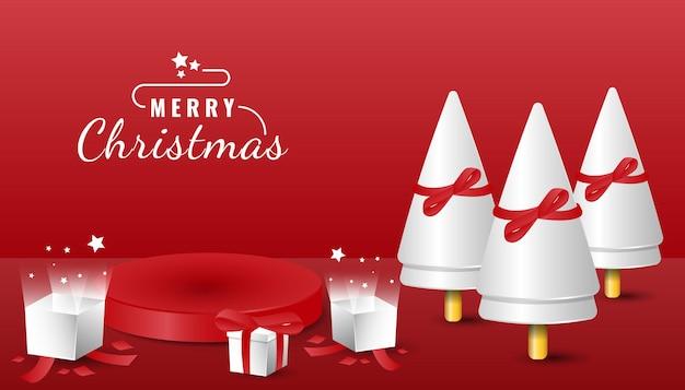 ツリーと表彰台の製品ディスプレイと3dメリークリスマスバナー