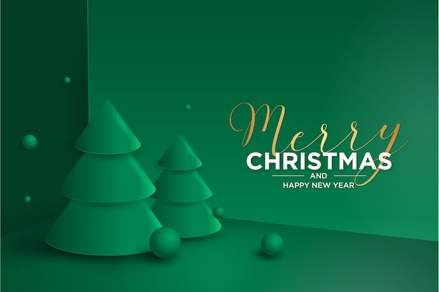 3d merry christmas and new year card with christmas tree