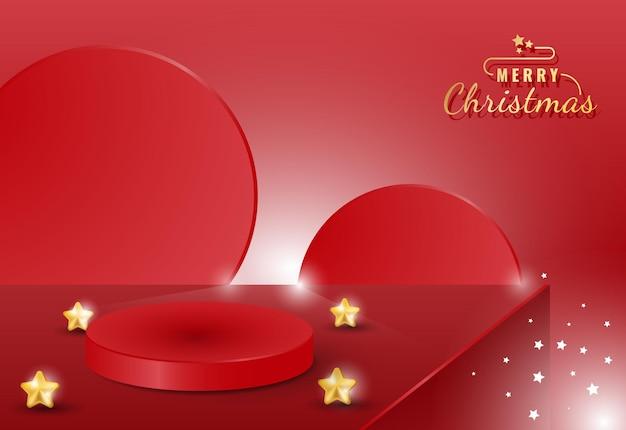 光沢のある星と3dメリークリスマス表彰台製品の表示バナー