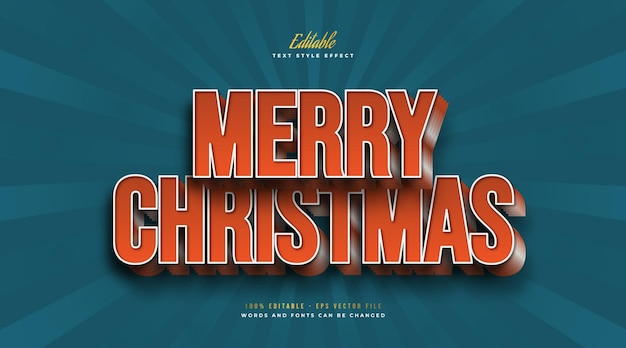 3d merry christmas text in bold orange vintage style. editable text style effect