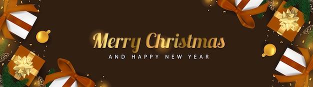 3d 메리 크리스마스 giftbox 황금 빛 배너 배경