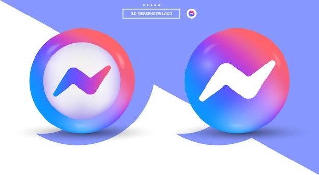 3d messenger logo in modern style for social media icons - gradient ellipse