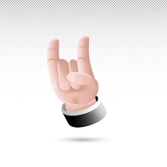 3d металлический знак рукой мультяшном стиле на белом прозрачном фоне бесплатные векторы