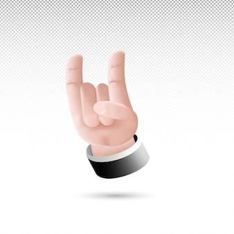 3d metal hand sign cartoon style on white tranparent background free vector