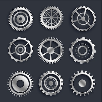 3d metallic cog and gears set of nine design