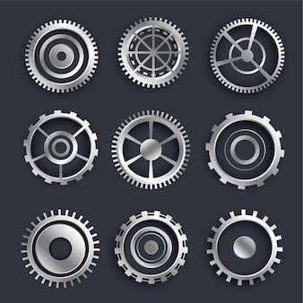 Un insieme di ingranaggi e ingranaggi metallici 3d di nove design