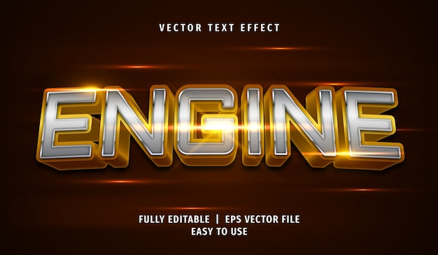 3d metallic engine text effect, editable text style