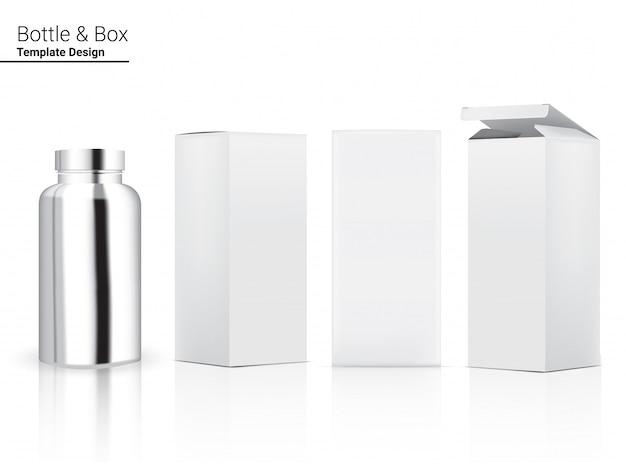 3d metallic glossy bottle реалистичная косметика и 3-мерная коробка для медицины или витаминных товаров иллюстрации. здравоохранение и медицина.