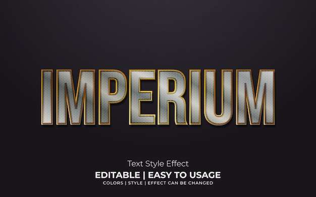 3d metallic text style with golden edges