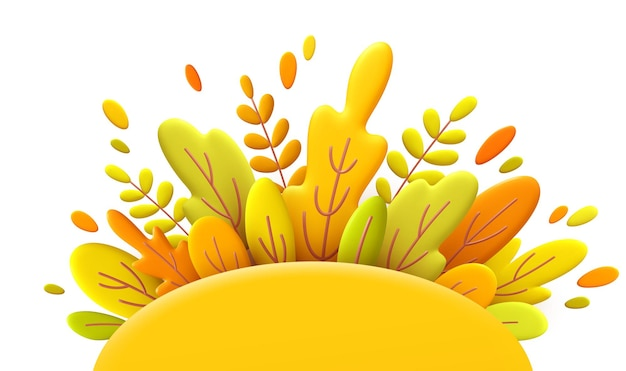 3d minimal background with autumn yellow and orange leaves
