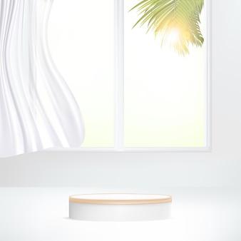 3d minimal geometric podium under sunlight