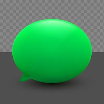 透明な背景に3d最小限の緑のチャットバブル
