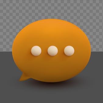 透明な背景に3d最小限のオレンジ色のチャットバブル