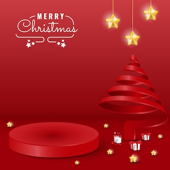 연단, 별, 나무 장식이 있는 3d 최소한의 빨간색 크리스마스 배너 디자인