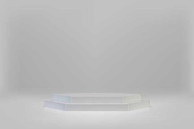 3d минимальная сцена с белым шестигранным подиумом на светлом фоне