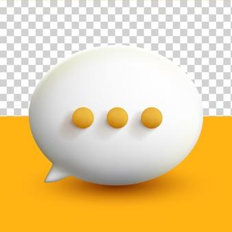 黄色の透明な背景に3d最小限の白いチャットの泡