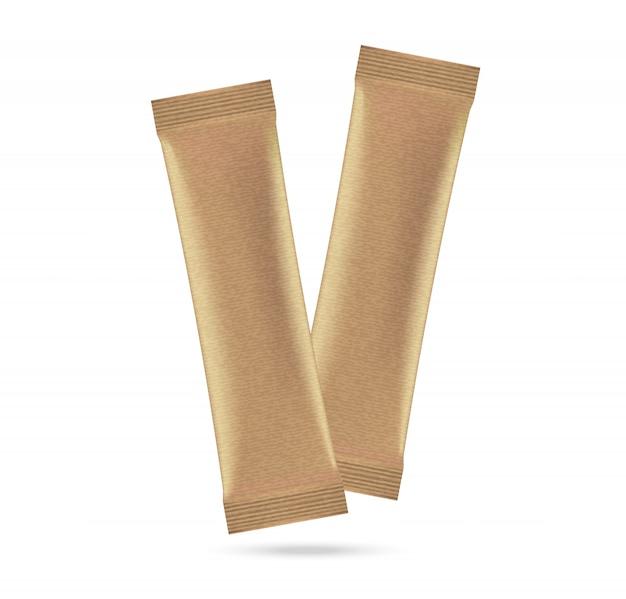 3d mock up matte sachet bag isolated on white