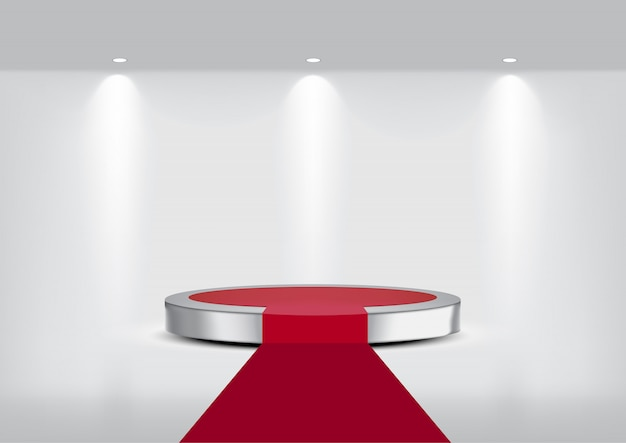 3d mock up realistic metallic carpet stage podium for show