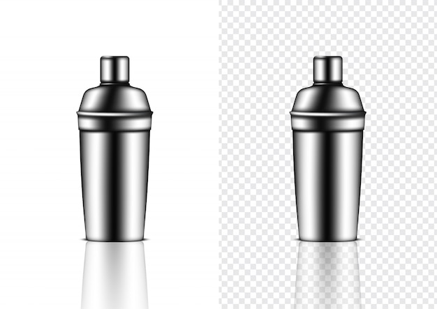 3d mock up realistic metallic shaker bottle