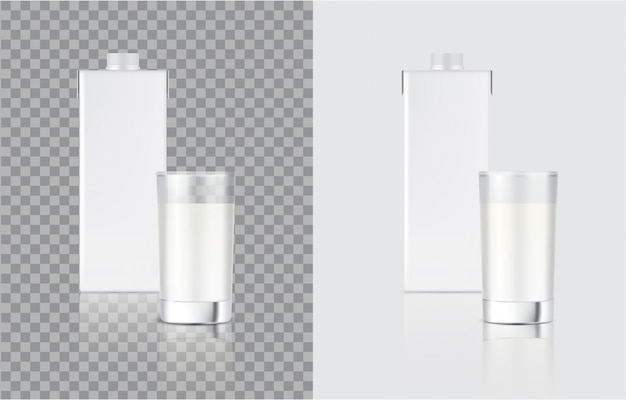 3d mock up realistic milk carton pack box and glass for food and drink product packaging