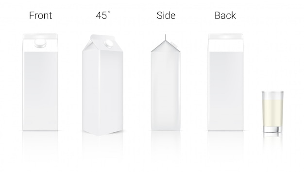 3d mock up realistic milk carton packaging