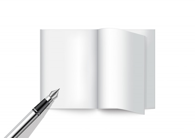 3d mock up realistic pen and book for magazine