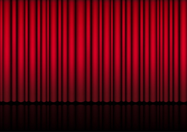 3d mock up realistic red curtain on stage