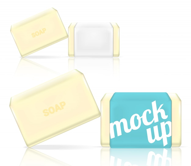 3d mock up realistic soap bar cosmetic packaging