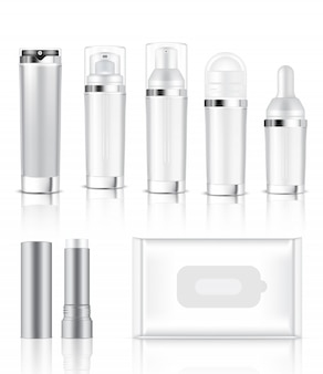 3d mock up realistic transparent bottle and sachet