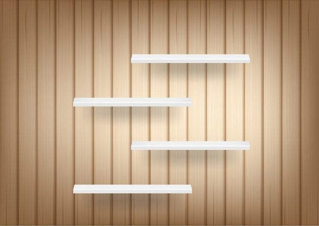3d mock up realistic wood background and empty shelf for interior