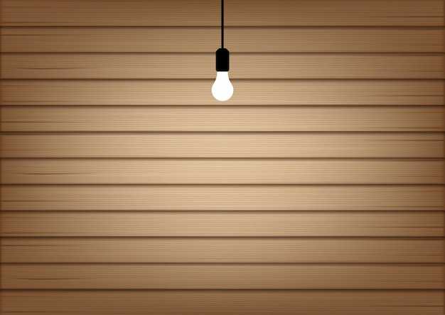 3d mock up realistic wood and lamp light