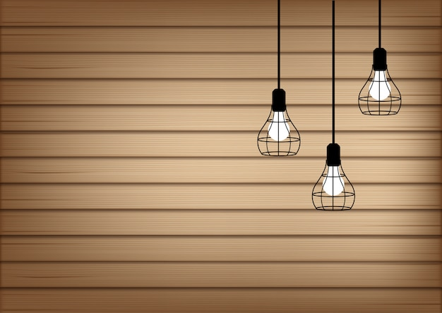 3d mock up realistic wood and lamp