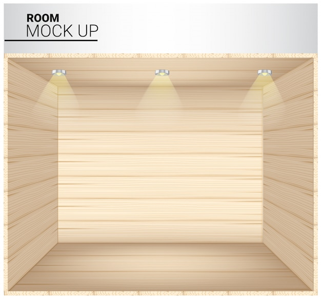 3d mock up of realistic wooden empty room
