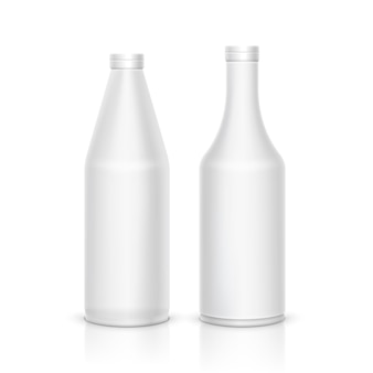 3d mock up white plastic bottle package. vector blank clean container design.
