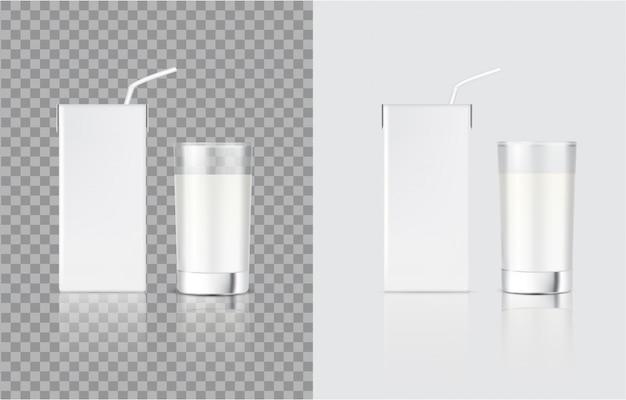 3d mock up реалистичная коробка для коробки из молока и стекла для упаковки продуктов питания и напитков