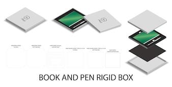 3dモックアップボックスと本やペン用のdieline