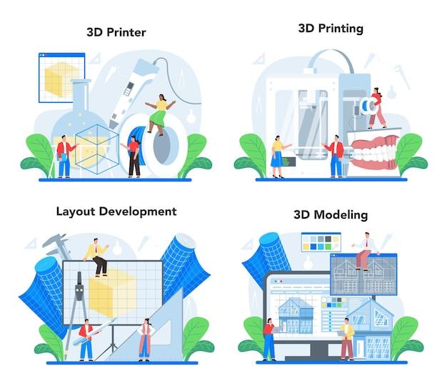 Набор иллюстраций 3d-моделирования