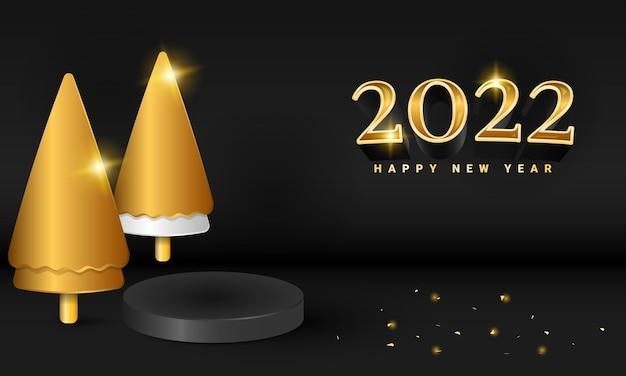 3d современный черный баннер с новым годом 2022 года с золотой блестящей елкой и подиумом